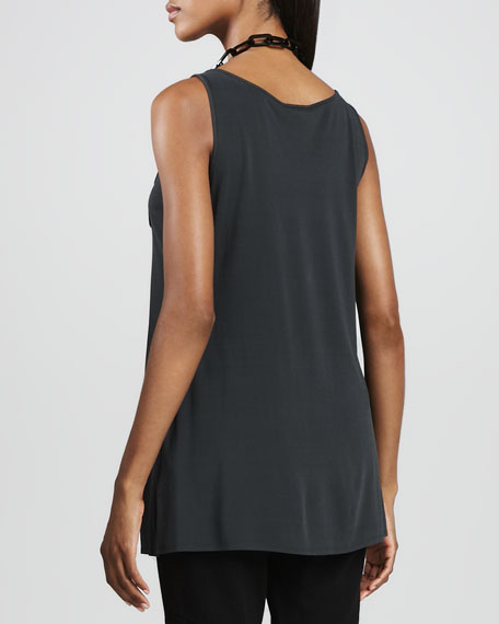 Silk Jersey Long Tunic Tank, Women's