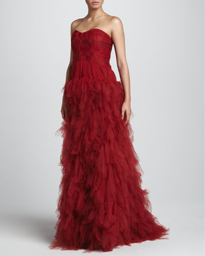 J. Mendel Strapless Tulle Gown with Woven Bodice, Claret