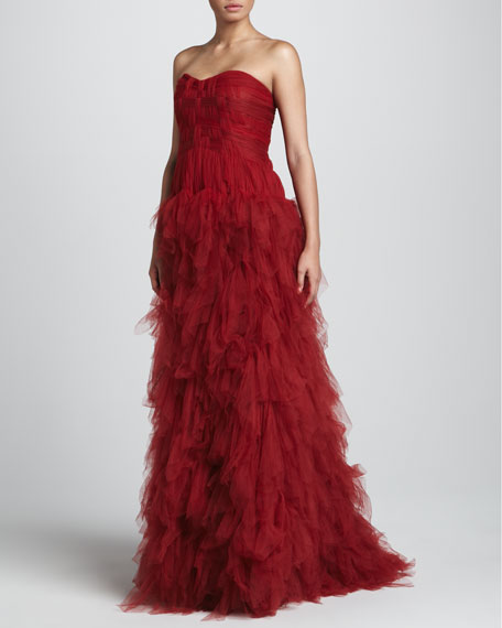 Strapless Tulle Gown with Woven Bodice, Claret