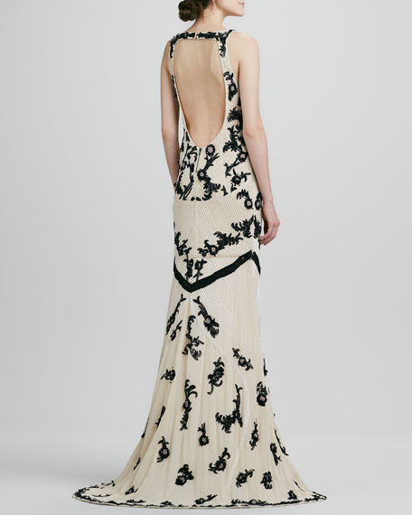 Abigail Beaded Open-Back Gown