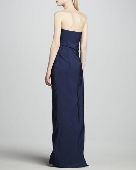 Strapless Faille Gown, Dark Indigo