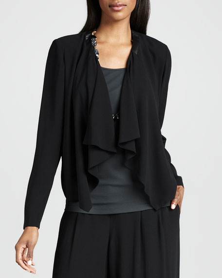 Draped-Front Silk Jacket, Women's