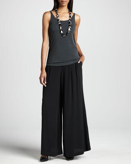 Silk Georgette Crepe Wide-Leg Pants, Women's