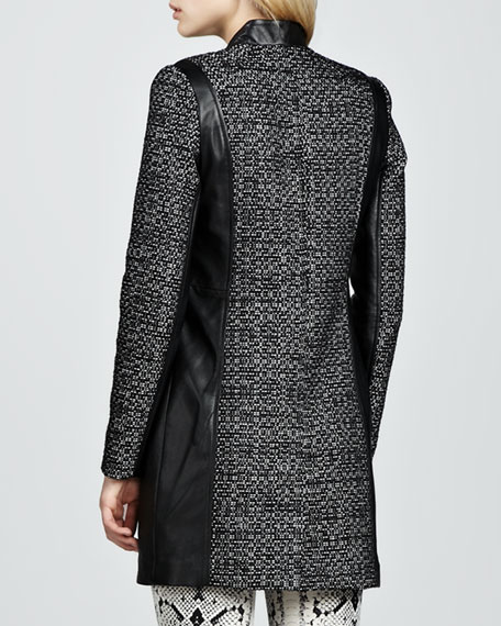 Leather-Trim Tweed Coat