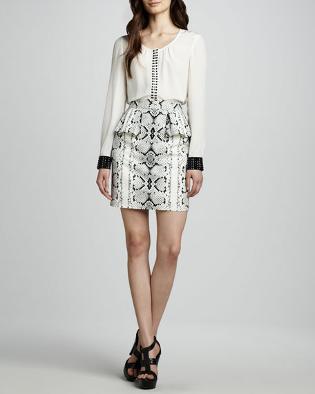 Dress Up Snake-Printed Peplum Skirt
