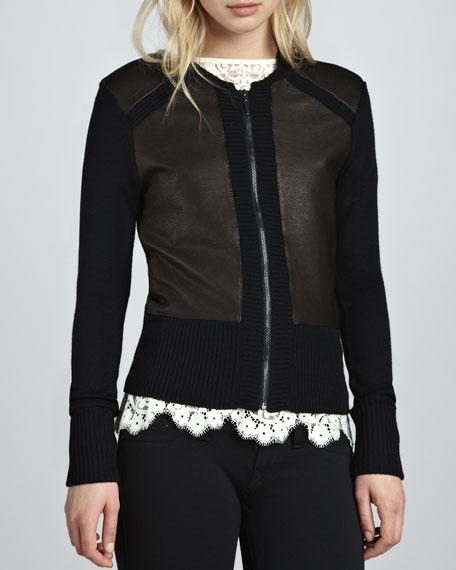 Leather-Panel Knit Cardigan