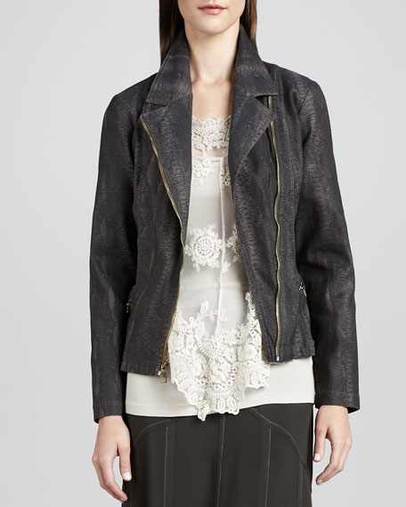 Snake-Print Moto Jacket, Women's