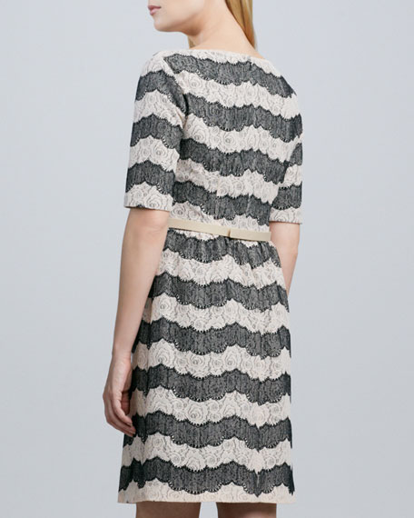 Lace-Print Belted Dress