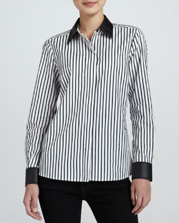 Go Silk Striped Leather-Trim Shirt, Petite