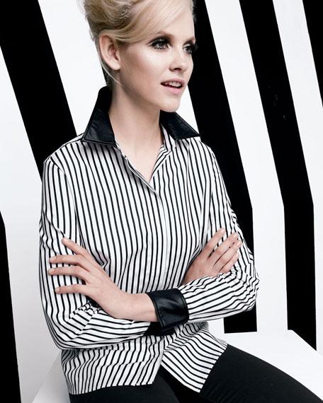 Striped Leather-Trim Shirt, Women's
