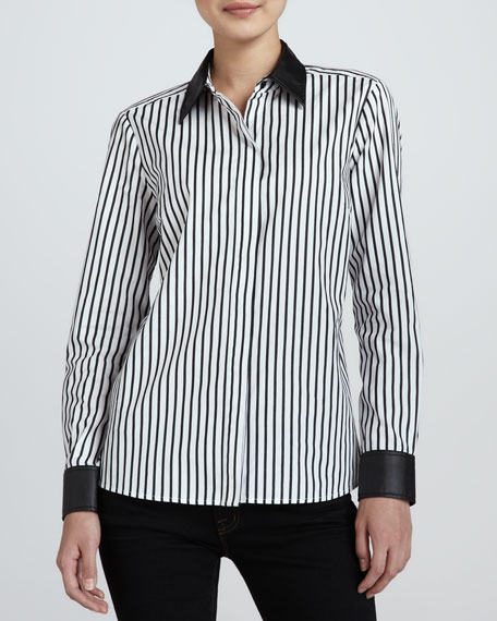 Striped Leather-Trim Shirt, Women's