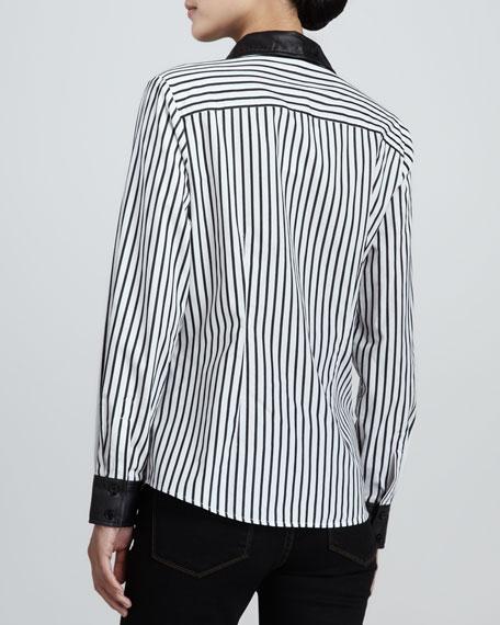 Striped Leather-Trim Shirt