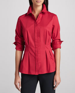 Go Silk Peplum Pleated Stretch Shirt, Petite