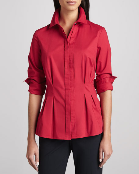 Peplum Pleated Stretch Shirt, Petite
