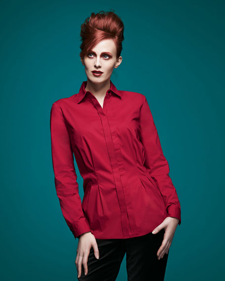 Peplum Pleated Stretch Shirt