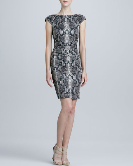 Cap-Sleeve Snake-Print Sheath Dress