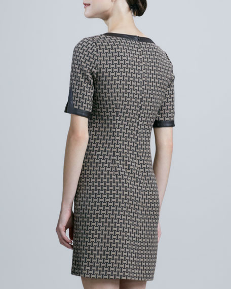 Short-Sleeve V-Neck Jacquard Dress