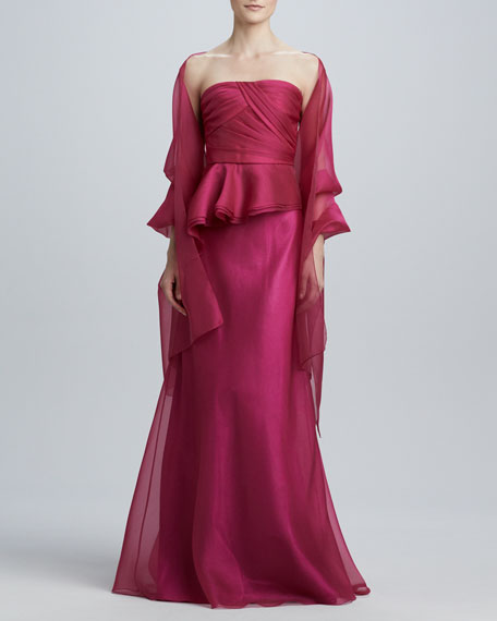 Strapless Peplum Gown with Stole