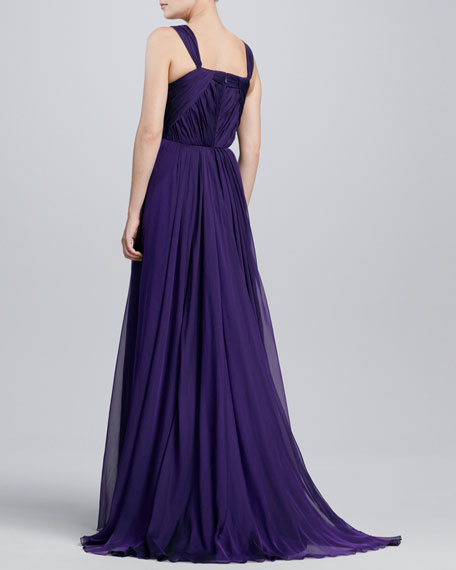 Sweetheart-Neck Chiffon Gown