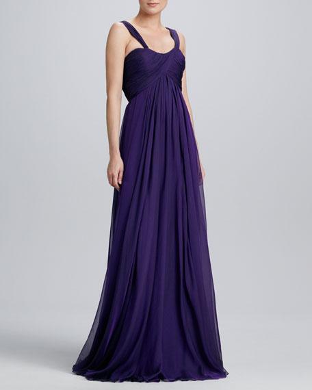 Sweetheart-Neck Chiffon Gown