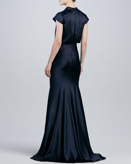 Satin Blouson Beaded-Inset Gown