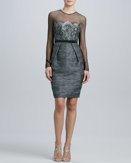 Long-Sleeve Cocktail Dress with Lace Bodice