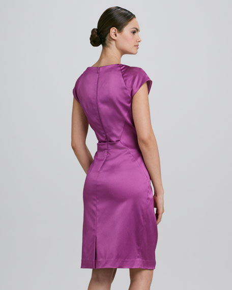 Jewel-Neck Ruched Cocktail Dress