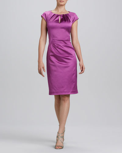 Kay Unger New York Jewel-Neck Ruched Cocktail Dress