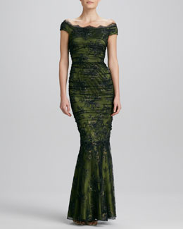 Kay Unger New York Off-the-Shoulder Floral-Lace Gown