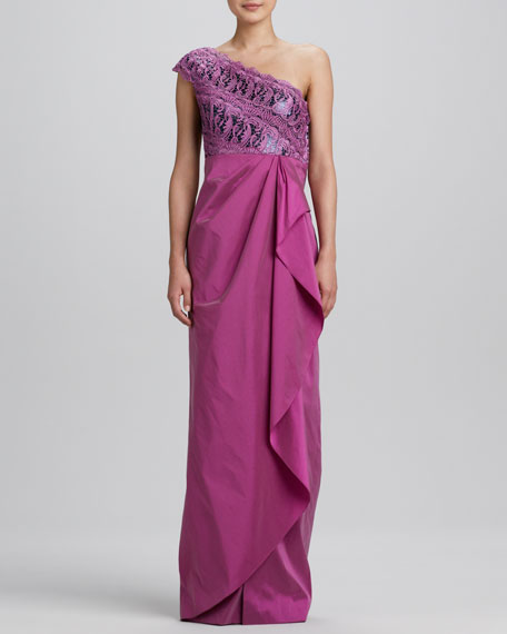One-Shoulder Lace-Bodice Gown