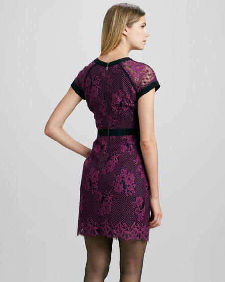 Hidden Gem Mesh/Lace Dress, Orchid/Black