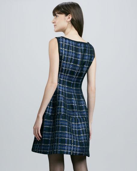 Dazzling Shiny Plaid Dress