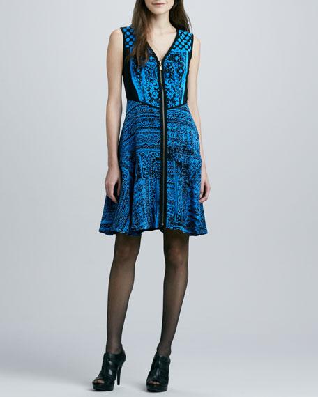 Kasbah Printed Front-Zip Dress