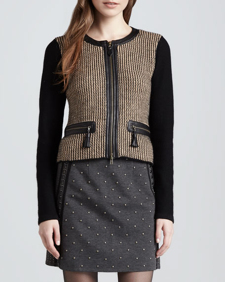 Trinket Leather-Trim Wool Jacket