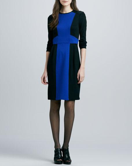 Rabat Two-Tone Ponte Dress, Marine/Black