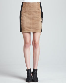 Nanette Lepore Castle Suede/Leather Skirt