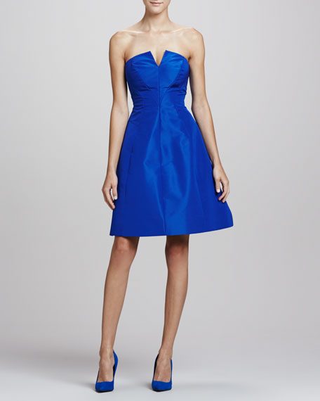 Strapless A-line Party Dress, Royal Blue