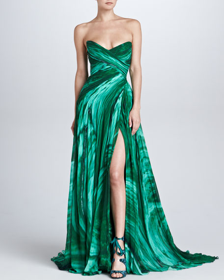 Strapless Sweetheart Malachite-Print Gown