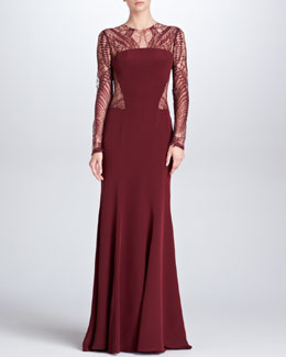 Monique Lhuillier Lace-Detail Long-Sleeve Crepe Gown