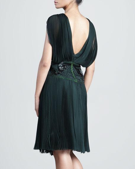 Silk Chiffon Embellished Pleated Dress