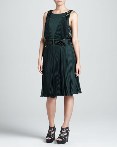 J. Mendel Silk Chiffon Embellished Pleated Dress