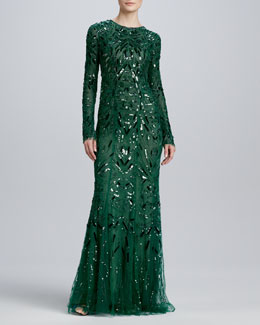 Monique Lhuillier Beaded & Embroidered Long-Sleeve Gown