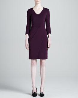 J. Mendel Jersey Wrap-Skirt Dress, Plum