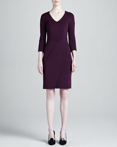J. Mendel Jersey Wrap-Skirt Dress, Plum