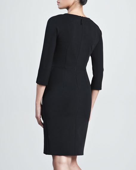 Jersey Wrap-Skirt Dress, Black
