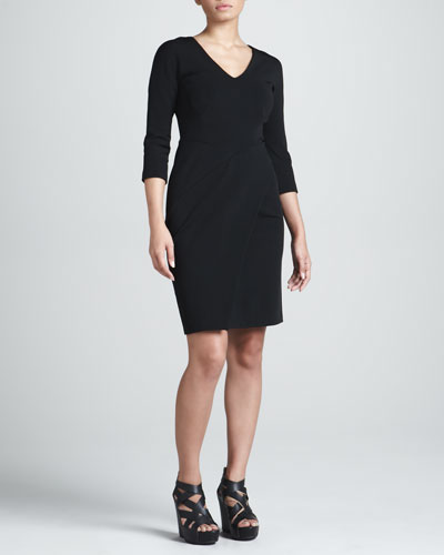 J. Mendel Jersey Wrap-Skirt Dress, Black