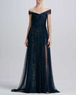 Monique Lhuillier Asymmetric Draped Tulle/Lace Gown