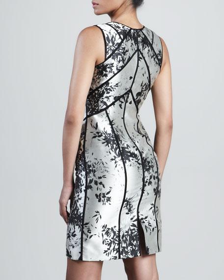 Silver Leaf Panel Sheath Dress