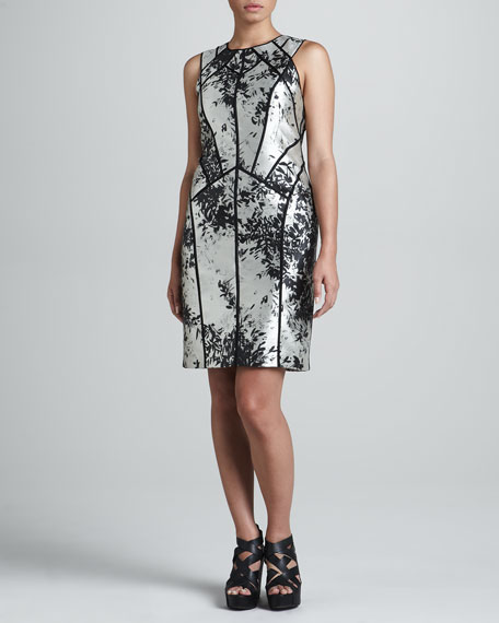 Silver Leaf Panel Sheath Dress