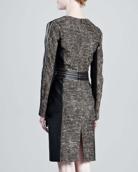 Tweed Leather-Panel Dress